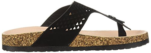 Qupid Women's Thong Sandal Flip-Flop Black 6CXthHBcs