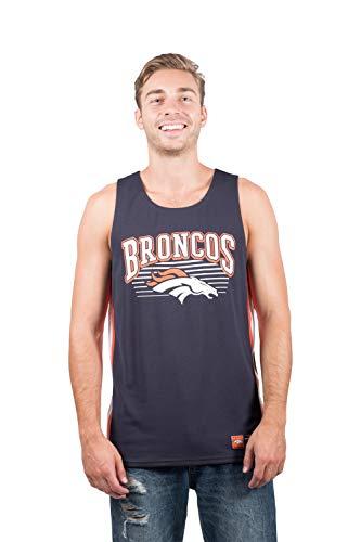 NFL Denver Broncos Men's Jersey Tank Top Sleeveless Mesh Tee Shirt, Large, Navy