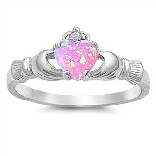 Irish Claddagh Lab Created Pink Opal Heart & Cz Ring .925 Sterling Silver - Size ()