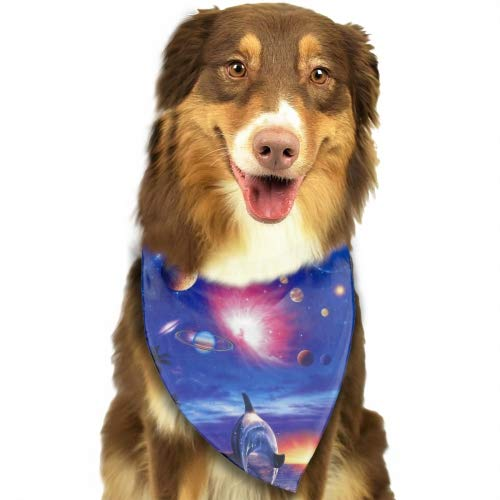 Cecil Beard Dolphins Chasing Planets Summer Pineapple Pattern Triangle Pet Scarf Dog Bandana Pet Collars for Dog Cat One -