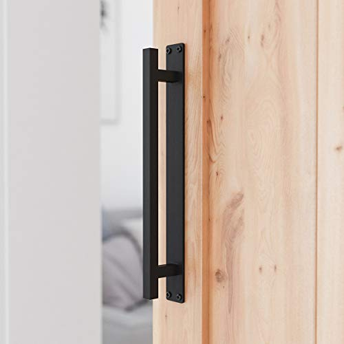 SMARTSTANDARD 12 Rustic Barn Door Handle for Sliding Door - Heavy Duty Barn Door Hardware Black Door Pull Plate, Antique Long Base Gate Handles Pulls Push