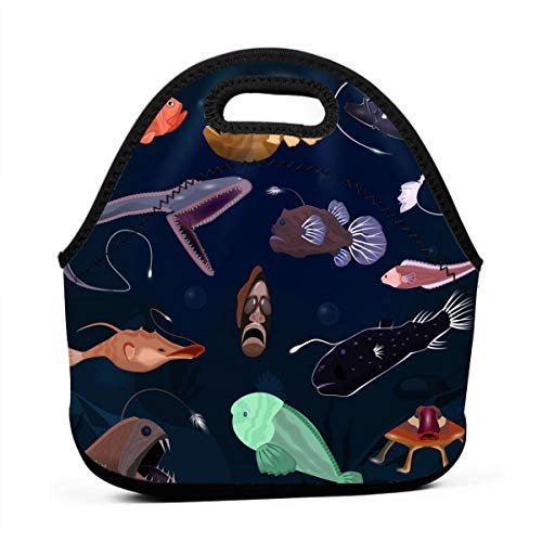 (Kids Lunch Box-Angler Fish Seafish Predator Lunch Bags for Women-Mini Soft Lunch Tote Bag-Lightweight, Reusable Lunchbox for Work and School)