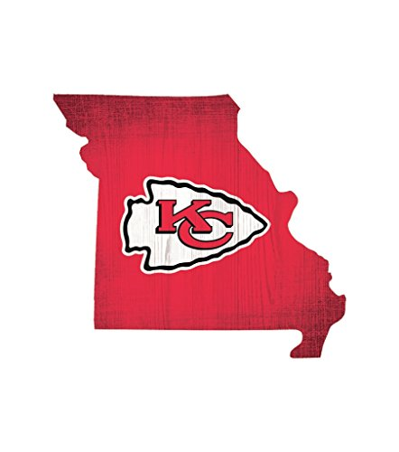 Fan Creations Kansas City Chiefs Wood Sign 12 Inch State Shape Design ()