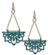 New Beginnings Lotus Flower Boho Chic Tribal Ethnic Fishhook Dangle Earrings for Women and Girls Gift (Gold Patina)