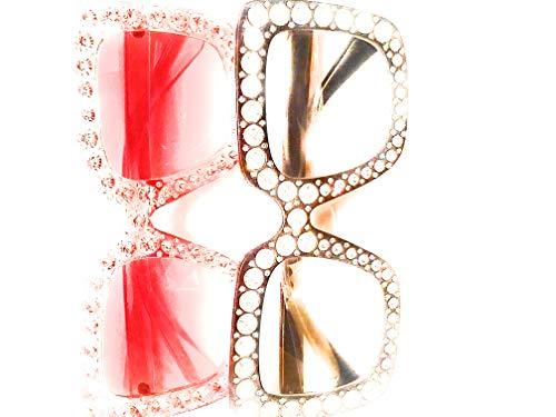 My Shades - Designer Inspired Oversize Square Frame Transparent Sunglasses Jewel Toned Colors Embellishments (Black, Red) (Frame Black Sunglasses Inspired)