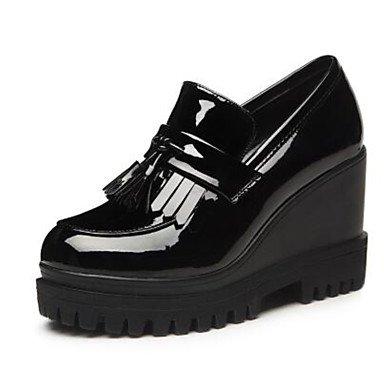 Noir ggx Chaussures Femme burgundy Printemps Plat Confort Confort Décontracté Verni Cuir Talons LvYuan à Bourgogne PEqFPd