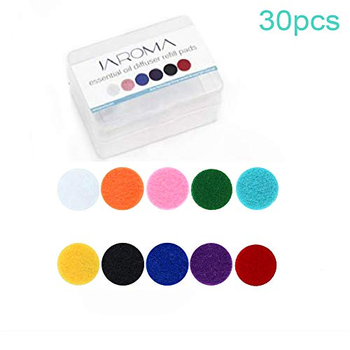 (30 Pack) JAROMA Aromatherapy Essential Oil Diffuser Locket Necklace Refill Pads, 10 Colors (White Black Red Pink Blue Purple Yellow Green Orange Light Blue)