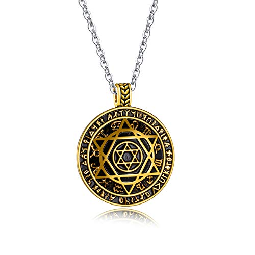 Jewish Star Religious black Stainless A14 Hooami For Jewelry Men Necklace Pendant Of Steel David Silver Women 0114CB