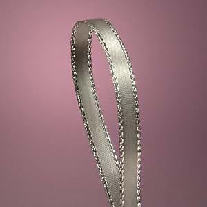"Silver Satin Ribbon with Silver Border, 1/4"" X 50Yd"