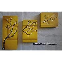 """Cuadros decorativos modernos 3 piezas - Pintura""""Árbol ocre"""" decoración del hogar, obra de arte, art wall, arte, decor home, cuadros decorativos en color amarillo."""