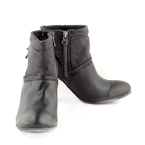 Felmini - Zapatos para Mujer - Enamorarse com Braganca 8775 - Botines de tacón - Cuero Genuino - Negro Negro