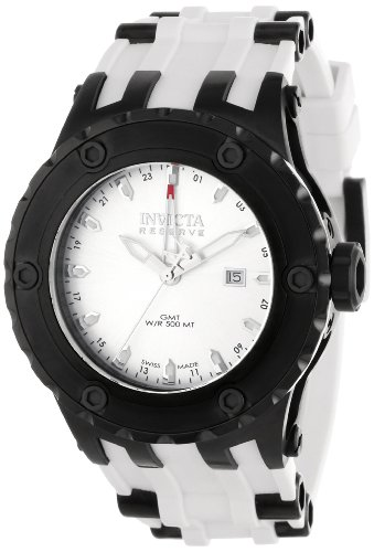 Men's  Subaqua Reserve GMT Silver Dial White Rubber Watch - Invicta 12056