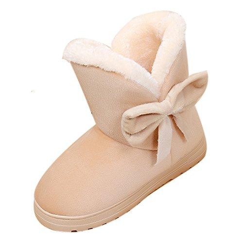 Hiver Warm Épaisse Flats De kinlene Pour Neige Bottes Automne En Hiver Bowknot Femme Chaussures Beige Women Femmes Yfqx1nR
