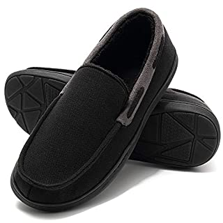 House Moccasin Slippers for Men, Cozy Memory Foam Slip On Clog Indoor/Outdoor Shoes Black Size 12