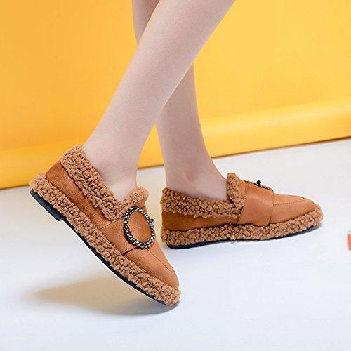 Los Primeros Zapatos de Las Mujeres de la Manera de Las Mujeres Más Los Zapatos de la Cachemira Los Zapatos de Los Guisantes de la Hebilla Del Cinturón Plano
