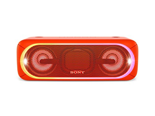 Sony XB40 Portable Wireless Speaker with Bluetooth and Speaker Lights, Red