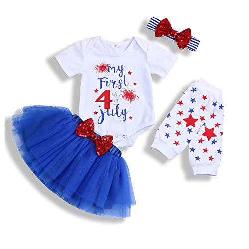 Baby Girl My First 4th of July Outfits Short Sleeve Romper+Tutu Skirt+Headbands 4PCS Clothes Set (Blue, 0-6 Months)