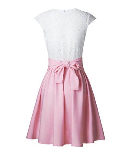 Manche Cocktail Amincissant Blanc Robe De Soiree Dentelle Asskdan Plissé Mini Pink Sans SUzpLqMjVG