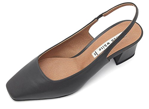 KAREN WHITE Sheep Leather Square Toe Middle Heel Classic Sling Back Pumps Shoes For Women Gray
