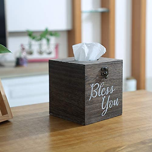 Set of 2 Wood Tissue Box Cover Square Jorikchuo Bless You Tissue Box Cover Rustic Brown Farmhouse Toilet Paper Holder or Napkin Dispenser