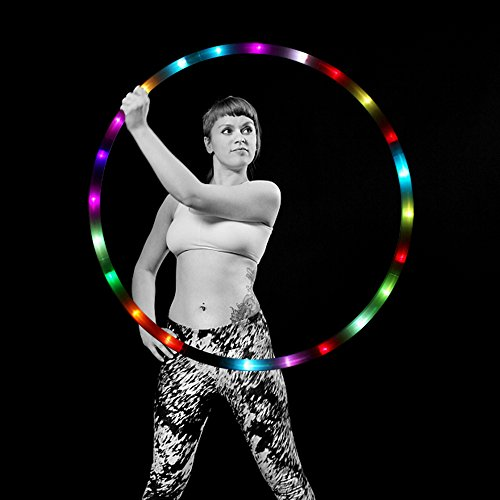 LED Hula Hoop Weighted Dance & Fitness Glow Light Up Hoola Hoops for Adults and Kids, 24 Color Strobing Changing LED Light, 8 Section Detachable Design, Portable Hula Hoops 36