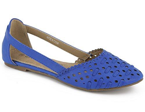 Cut Closed Shoes Womens Flats Blue Greatonu Ballets Out Toe PwAEqxf