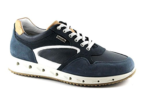 IGI&CO 77160 Blu Scarpe Uomo Sneakers Lacci Pelle Gore-Tex Blu