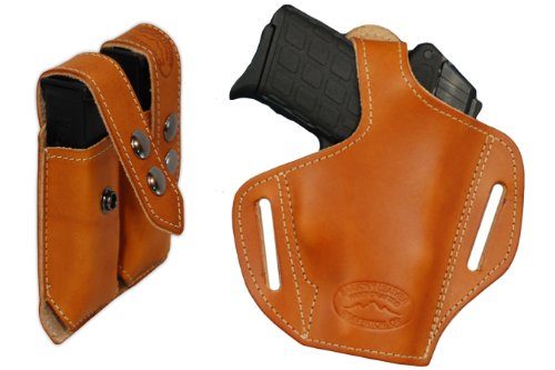 (Barsony New Saddle Tan Leather Pancake Holster + Double Mag Pouch KIMBER ULTRA CARRY II right)