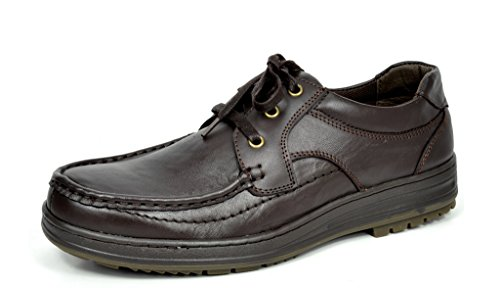Bruno MARC MODA ITALY ABEL Men's Classy Leather Lace Up Driving Casual Loafers Moccasins Oxfords shoes BROWN SIZE 9