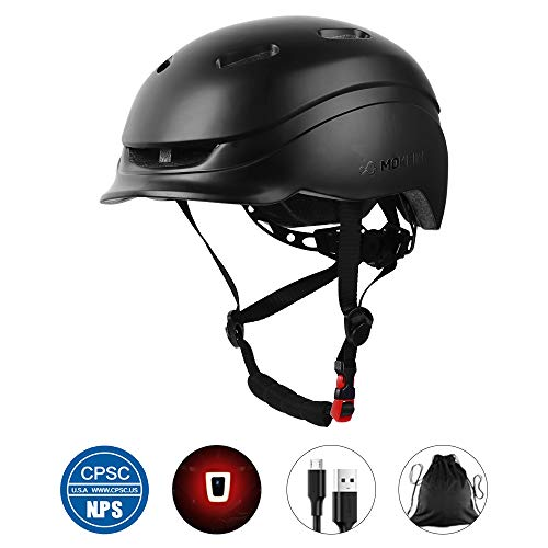 MOKFIRE Adult Bike Helmet with Rechargeable USB Light/Thick EPS Foam, Bicycle Helmet CPSC Certified for Urban Commuter Men Women, Adjustable Lightweight Cycling Helmet, 22.44-24 Inches(Black)