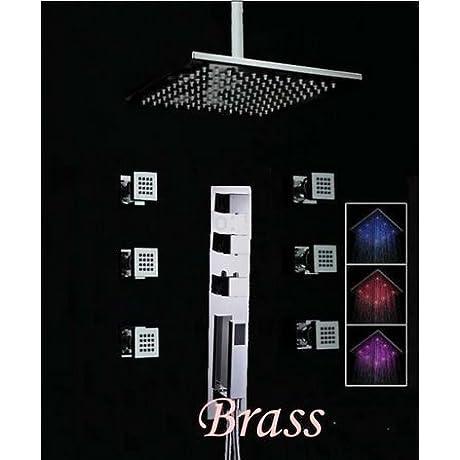 Huanyu Large 16 LED Shower Head Thermostatic Valve Body Jets Sprayer Hand Shower Mixer