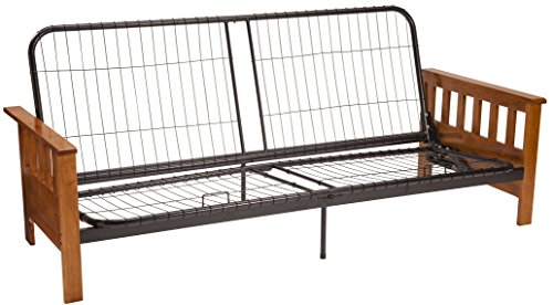 Epic Furnishings Berkeley Mission-style Futon Sofa Sleeper Bed Frame, Queen-size, Medium Oak Arm (Oak Steel Bed)