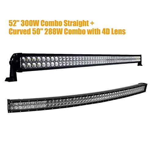 """Eyourlife 52"""" 300W LED Light Bar & 50 Inch LED Light Bar Cur"""