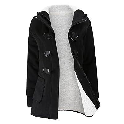 Paymenow Women Plus Size Fleece Warm Winter Pea Coat Horns Buckle Hooded Coat Long Windbreaker Outwear
