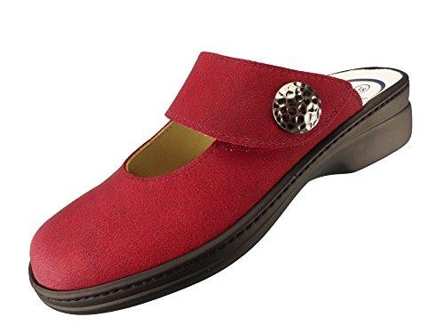 Algemare Damen Clog Nubukleder Rot mit Sani-pur Wechselfußbett Pantolette 5948_5718 Sandalette, Größe:38