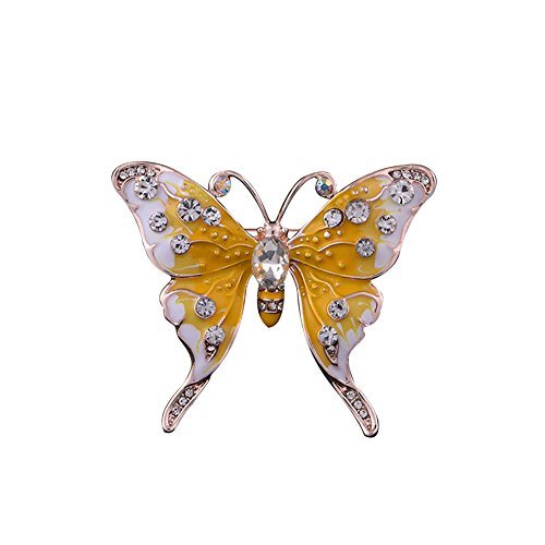 - Butterfly Crystal Opal Floral Brooch Pin Classic Multilayer 3D Butterfly Gold Plated Marquise Opal Crystal Rhinestone Brooch Pin Jewelry Yellow