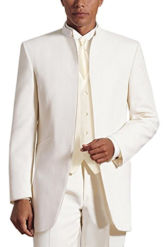 Lilis Men's 3 Pieces Wedding Suits Pure White Collar Three-Piece Tuxedo ()
