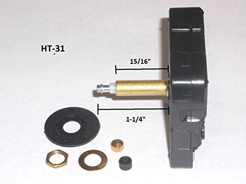 High Torque Quartz Clock Movement (Silent) w/Extended Shaft (For Long Hands), Extra Long Shaft - (Long Metal Shaft)