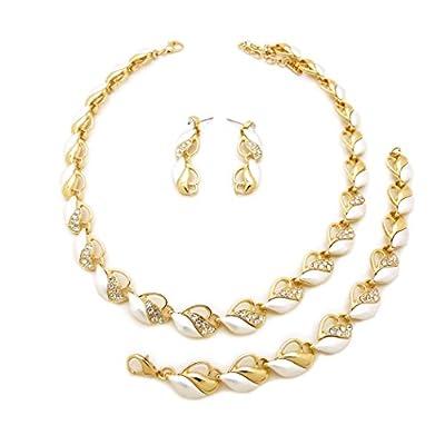 Nice Women's Metal Crystal Rhinestone Marquise Necklace, Bracelet, Earring Set hot sale