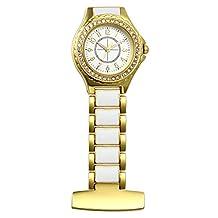 Avaner Unisex Stainless Steel Silicone Sparkly Rhinestone Bezel Analog Quartz Nurse Lapel Pin Fob Watch Gold