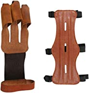 MEW Archery Protective Gear Kit, Adjustable 3 Straps, Bow Hunting Gloves 3 Finger Guard Leather, Archery Prote