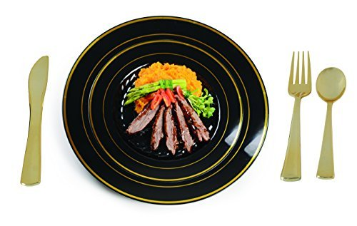 - Plastic China Plate Silverware Combo Serving for 24 (129 piece set) BLACK/GOLD