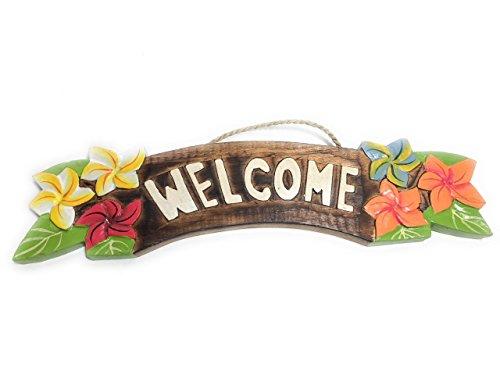 Tikimaster Welcome Sign w/Plumeria Flowers 12