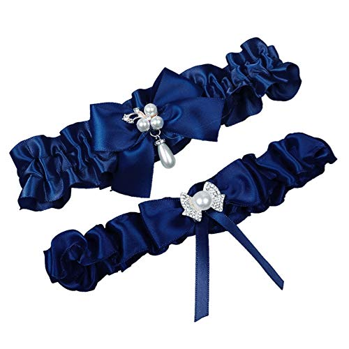 (MerryJuly Throw Away and Keep One Satin Wedding Bridal Garter Belt Set with Pearls (Navy Blue))