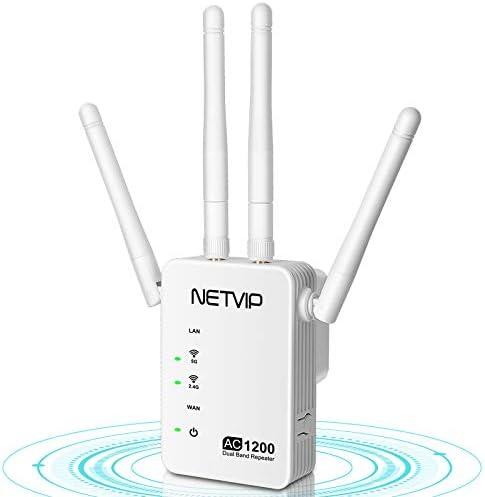 NETVIP Repetidor de Red 1200Mbps Amplificador WiFi Extensor 5GHz Inalámbrico de Cobertura con Enchufe, Repetidor de Señal WiFi con Gigabit Puerto ...