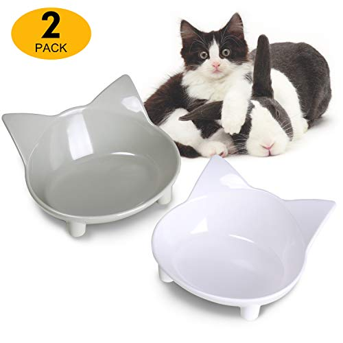 (Cat Bowls Cat Food Bowls Non Slip Cat Double Dish Pet Food & Water Bowls Raised Puppy Food Bowl Stress Relief Feeder Bowls Wide Dish Pet Bowl for Dogs Cats Rabbits, (Safe Food-grade Melamine Material))