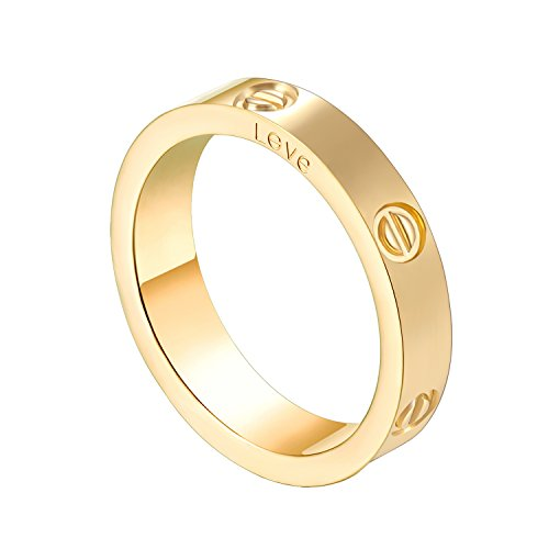 Z.RACLE 4mm Love Rings for Women with Screw Design Best Gifts for Love Gold - 8 by Z.RACLE
