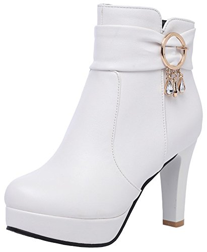 Mofri Women's Elegant Buckle Strap Rhinestone Chunky High Heel Ankle Booties Platform Round Toe Side Zipper Short Boots (White, 8 B(M) US)