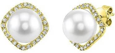 THE PEARL SOURCE 14K Gold AAA Quality Round Genuine White Akoya Cultured Pearl & Diamond Ella Earrings for Women