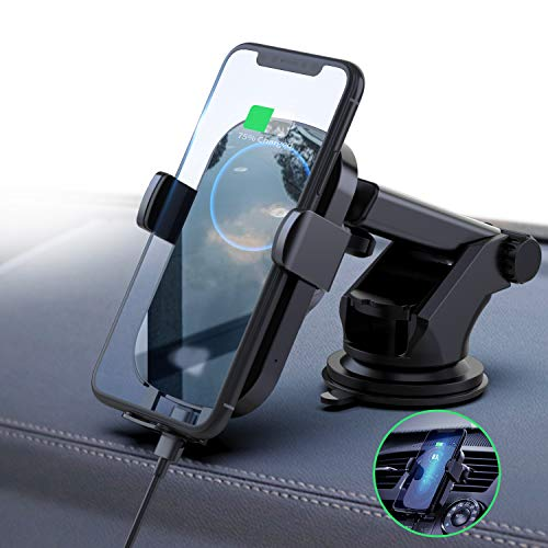 FireKylin Wireless Car Charger Mount, Auto-Clamping 10W 7.5W Qi Fast Charging Car Phone Holder Windshield Dashboard Air Vent Compatible iPhone 11 Pro Xs Max XR X 8 Plus, Samsung S10 S10 S9 S9 S8 S8